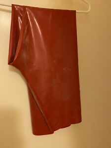 Latex Catsuit Rubber Gummi Leggings Red 0.4mm Small size