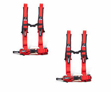 """Dragonfire Racing Red Pair H-Style 4 Point 2"""" Seat Belt Harnesses Universal"""