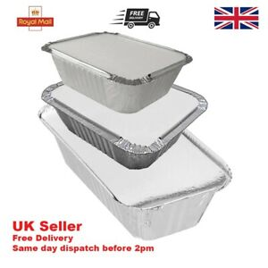 Aluminium foil food containers+lids Takeaway Home Disposable No.2 No6a No.1