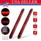 2x 15 11led Red Sealed Truck Trailer Brake Stop Turn Tail Submersible Light Bar