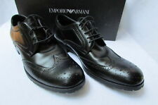 Brand New Emporio Armani Black Leather Classy Suit Fashion Work Men Shoes Size 8