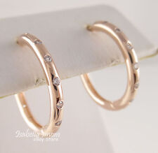 DROPLETS Authentic PANDORA Rose GOLD Plated/Zirconia HOOP Earrings NEW 2017