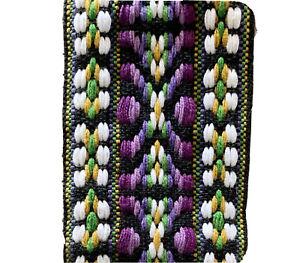 Vintage 1970's Jacquard Woven Embroidered Ribbon, Tribal Design, 4 5/8 Yds.
