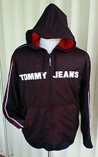 TOMMY HILFIGER Track Jacket L Red Blue Jersey Hoodie Polo Fleece Sport SPELL OUT