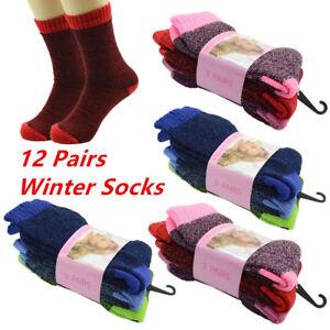 Lot 12 Pairs Mens Heavy Duty Winter Warm BED Boots Wool Crew Socks Size 9-11