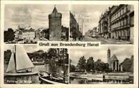 BRANDENBURG Havel 1960 DDR Mehrbild-AK ua. Partie a.d. Molge, Steinstrasse uvm.