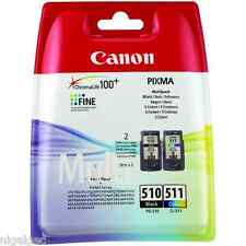 2 X Negro + 1 X Color pg-510 cl-511 Pixma Mp270 mp272 Original Cartuchos De Tinta