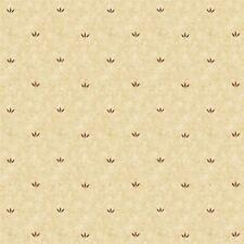 Wallpaper Designer Country Burgandy Mini Leaf Pattern on Tan Faux
