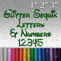 Glitter Letters & Numbers IRON-ON FABRIC TRANSFER SEQUIN Custom Sticker Disney `