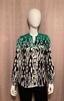 NWT Calvin Klein Women's Size XS Green Black White Polyester Collarless Blouse
