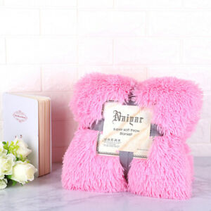 Luxurious warm fluffy bedspread in winter with soft artificial fur