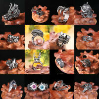 Men's Silver Stainless Steel Fashion Cool Gothic Punk Biker Finger Rings Jewelry