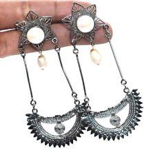 River Pearl Designer Gemstone Black Rhodium Jewelry Earring 1'' to 2'' n223