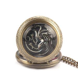 Steampunk House Targaryen Dragon Mark Game of Thrones Quartz Pocket Watch Gifts