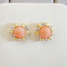 Ohrringe Gold 585er Koralle Brillanten Diamant Engelshaut Goldschmuck Edelsteine