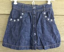 Gymboree Greek Isle Style Girls 7 Blue Chambray Button Front SKIRT Embroidered