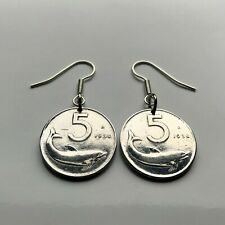 1954 Italy 5 Lire coin dolphin porpoise earrings Rome Florence Milan Pisa 000022