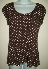 cato womens knit top size large brown white polka dot blouse short sleeve summer