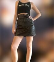 A.L.C. Patent Leather High Waisted Bow Mini Skirt  RRP $595 XS