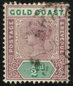 SG 26 GOLD COAST 1898 - HALFPENNY DULL MAUVE & GREEN - USED