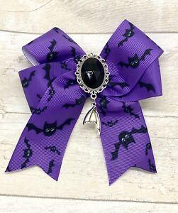 Cute Purple Black Bat Ribbon Bow Hair Slide Clip  Goth Pagan Novelty Fun Kitsch
