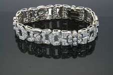 14K White Gold 2.15Ct Round Cut Diamond Art Deco Bracelet