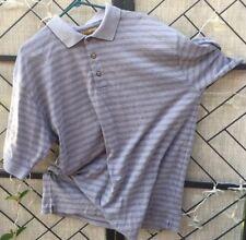 Gold Tri-Mountain Golf Polo Short Sleeve Men's Striped Shirt Cotton Polyester