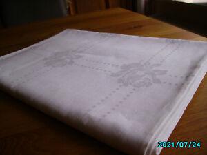 Leinen-Damast Tischtuch 1,65 x 2,30 m Rosenmuster eingewebt