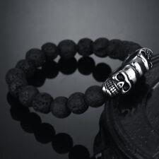 Lavastein Armband Halbedelstein Edelstahl Skull Totenkopf Death Head  Biker LA2