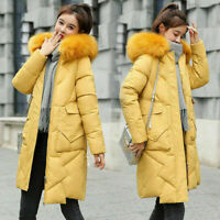 New Womens Long Fur Trimmed Hooded Padded Puffer Parka Ladies Winter Jacket Coat