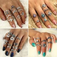 Gift Punk Vintage Bohemian Women Ring Set Silver Finger Knuckle