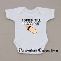 Personalised Baby Vest Bodysuit Romper Funny Humorous Bottle Gift Birthday