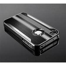 Ultra Slim Steel Chrome Deluxe Cover Case Screen Protector For iPhone 4 4S +Pen