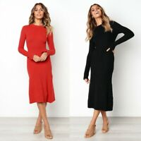Womens Loose Long Top chunky Plus size sexy Ladies Dress Maxi Wrap Dresses