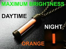 ORANGE Glow In The Dark Necklace / Pendant,Pure Strontium Aluminate! GITD Marker