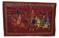 Parete Pittura Mughal Su Seta Arte Scena Di Vita India 71x47cm 9