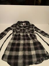 Justice Girls Plaid Button Down Shirt Size 12 Long Sleeve Black Gray