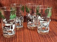Set Of Four Vintage 5 Inch Drinking Glasses With A Dog Motif