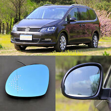 Rearview Mirror Blue Glasses LED Turn Signal with Power Heating For VW Sharan