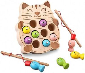 Wooden Fishing Game Montessori Toddlers Toys Magnetic Cat Shape Preschool Gift
