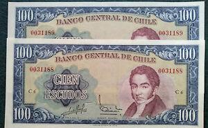 Chile Two consecutive Banknotes of 100 Escudos Pk141a 1962 UNC. Massad-Ibañez