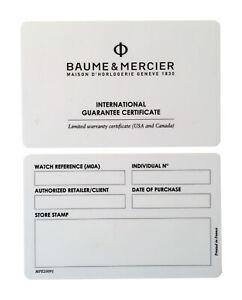 Baume & Mercier Watch Warranty Guarantee Certificate Open Blank Card