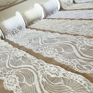 "Delicate Lace Trim Ribbon 4"" Wide White/Ivory Vintage Wedding Fabric Edge PER 1M"