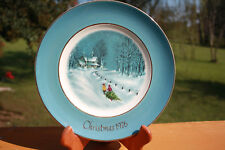 """Avon Collectible 1976 Christmas Plate """"Bringing Home The Tree"""" 3rd Edition"""