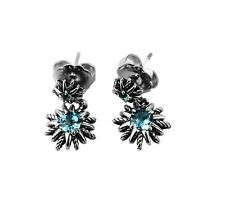 David Yurman Sterling Silver Starburst Double Drop Blue Topaz Earrings 4e
