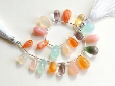 107ctw Pink Amethyst Chalcedony Pink Opal Fluorite Fire Opal Teardrop Beads