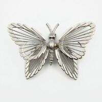 Vintage Signed Monet Silver Tone Wire Work Wings Large Butterfly Brooch Pin