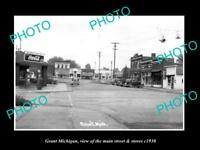 OLD LARGE HISTORIC PHOTO OF GRANT MICHIGAN, VIEW OF THE MAIN St & STORES c1930