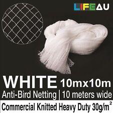 10 x 10M WHITE Knitted Anti Bird Netting Commerical Pest Net 15x15mm