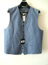 New Joseph Abboud XXL Waistcoat Vest Linen Blend Blue